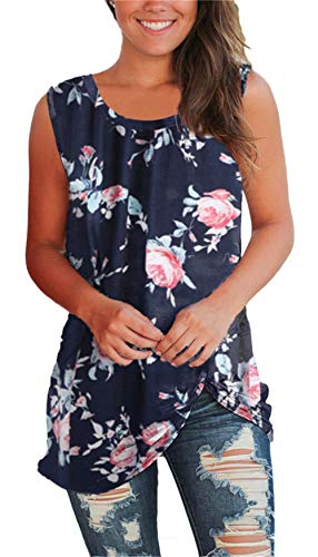 onlypuff Navy Blue Casual Loose Shirt for Women Sleeveless Floral Printed Side Kont Twisted Tops Round Neck Small