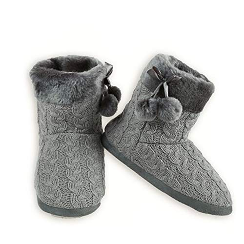 Yelete Womens Cable Knit Slippers House Booties Socks Soft Faux Fur Trim Rubber Soles (S/M (5 M US - 7 M US), Grey)