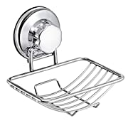 iPEGTOP Suction Soap Dish Holder, Wall Mounted Bar Soap Saver Sponges Holder, for Bathroom Kitchen Shower Tub - Rustproof Stainless Steel