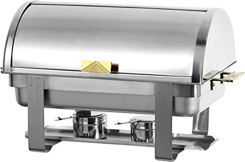 PrestoWare C-5080, 8-Quart Roll Top Chafing Dish with Gold Accent