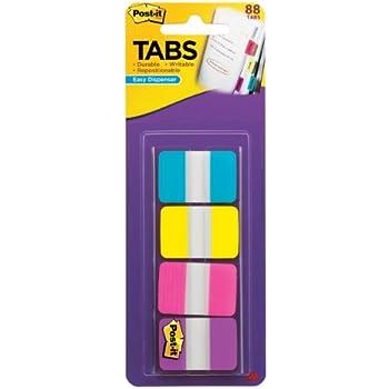 Post-it Tabs, 1-Inch Solid, Aqua, Yellow, Pink, Violet, 22/Color, 88 per Dispenser (686-AYPV1IN)