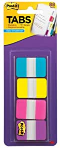 Post-it Tabs, 1-Inch Solid, Aqua, Yellow, Pink, Violet, 22/Color, 88 per Dispenser (686-AYPV1IN)