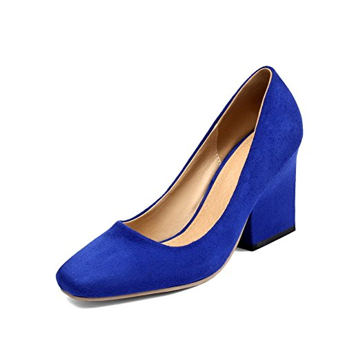AllhqFashion Women's Solid Frosted High Heels Pull On Square Closed Toe Pumps Shoes, Blue, 39