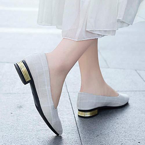 Col Loafers Tacco tacco 3 Slip A on Scarpe Donna Alto White Casual eleganti Con Tela Quadretti Punta Cm dp5w0qC