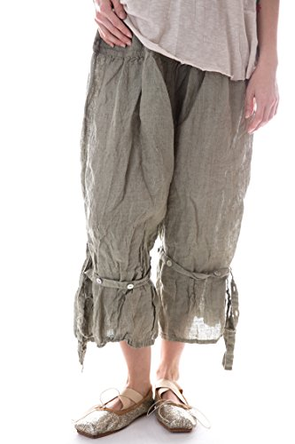 Magnolia Pearl Linen Berdine Pants with Flat Front and Button (Flat Front Linen Skirt)
