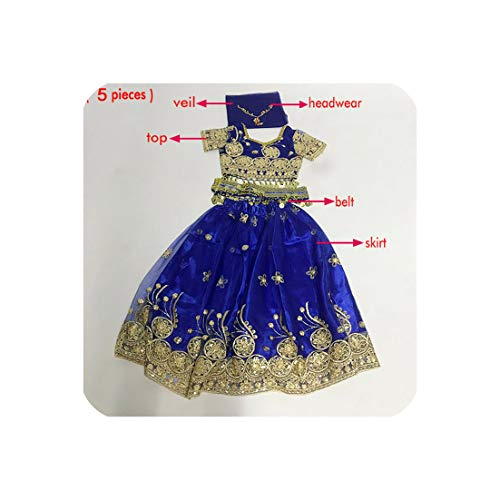 Dance Costume Set Kids Belly Dance Indian Sari Children Chiffon Belt Skirt,Royalblue-5Pcs,S -