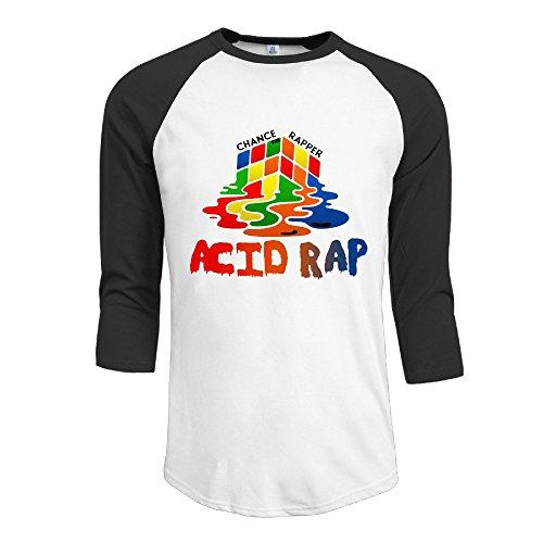 CALZ Men's Acid Rap Album Logo 3/4 Sleeve O-Neck Tshirts XXL Black