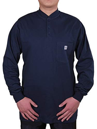 Fire Resistant 7 oz. Cotton Long Sleeve Henley - FR T-Shirt Defies Melting, Dripping, After-Burning - Fire Retardant Clothing for Electricians, Welders, More by Ur Shield, Navy ()