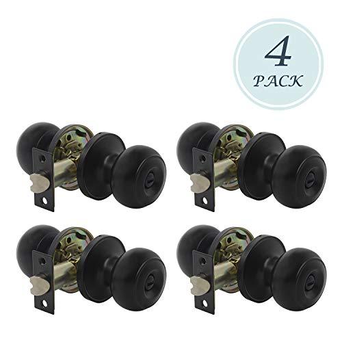 4 Pack Door Hardware Locks Knobs, Antique Style Door Knob, Privacy Door Knob for Bed or Bath Function Interior Door Use, Matte Black, Round Shape