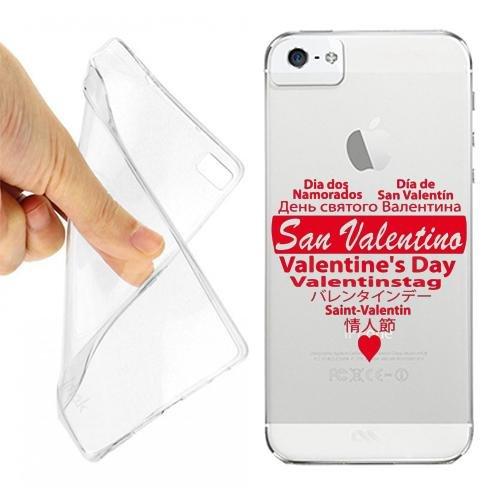 CUSTODIA COVER CASE CUORE SAN VALENTINO PER IPHONE 5 5S TRASPARENTE