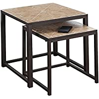 Monarch Specialties Terracotta Tile Top/Hammered Brown 2-Piece Nesting Tables