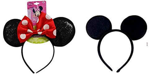 Minnie Mouse Sparkled Ear Shaped Headband with RED Bow and Mcikey Mouse Headband Disney Official Licensed -