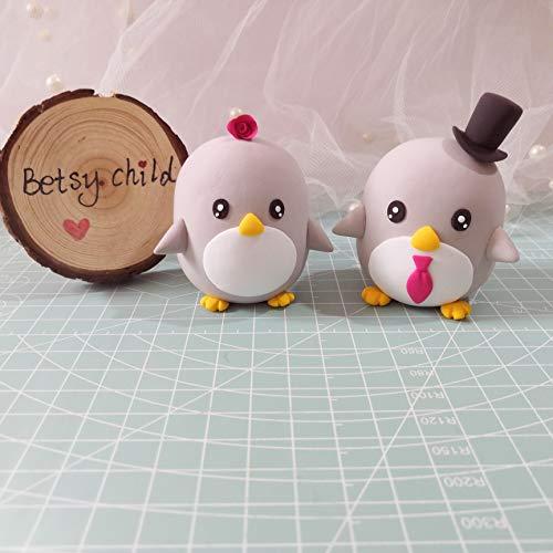 penguin wedding cake topper - custom bride and groom cake topper,wedding topper,polymer clay topper