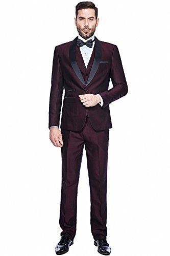 WEEN CHARM Men's 3-Piece Suit Slim Fit Shawl Lapel One Button Vested Dress Suit Set Blazer Jacket Pants Tux - A Design Shape Suit