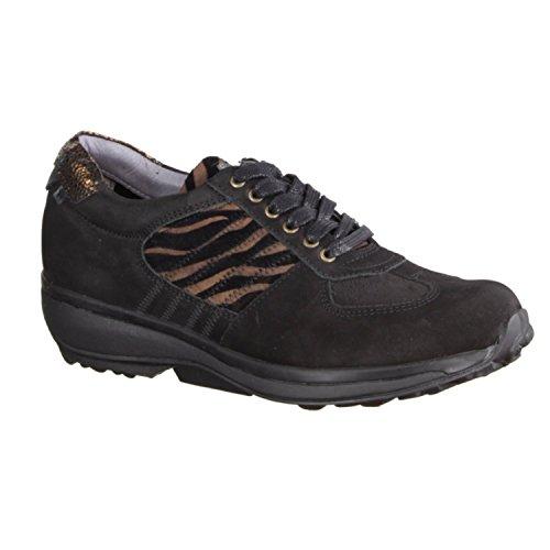 X sensible England - Zapatos cómodos / relleno suelto Zapatos mujer Cómodo Zapatos de cordones, Negro, piel ceñida/textil