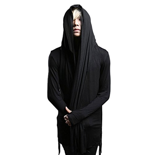 Sleeve Hooded T-shirt Layered Long (MOKEWEN Men's Layered Hoodies Long Sleeve T-shirt US Small)
