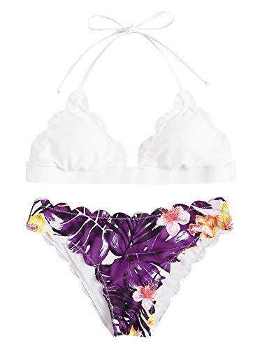 SweatyRocks Women's Sexy Bathing Suits Scallop Halter Bikini Top Floral Print Two Piece Swimsuits Purple Large