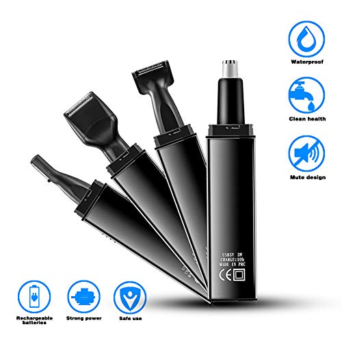Nose Hair Trimmer Professional Waterproof Ear and Nose Trimmer 4 in 1 USB Rechargeable Nose Trimmer for Men fashionable Electric nose hair clippers Men Women(Black)