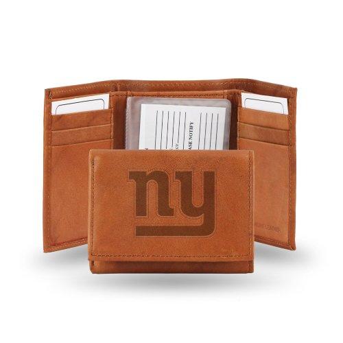 Nfl Team Embossed Billfold (New York Giants NFL Team Logo Tri Fold High Quality Brown Leather Wallet - Embossed)