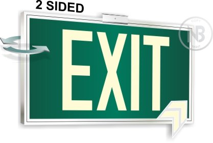 Photoluminescent Exit Sign Green Framed Flag/Ceiling Mount Double Sided. UL 924 Code Approved. - Exit Flag