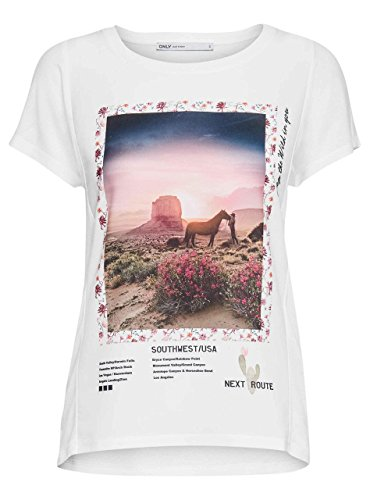 Only Damen T-Shirt weiß weiß Large