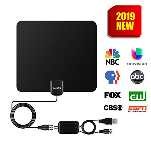 130 Miles Range TV Antenna, 2019 NEWEST HDTV Indoor Digital Amplified Antennas with Switch Amplifier Signal Booster for Free Local Channels 4K HD 1080P,13.5ft Coaxial Cable - Better Reception