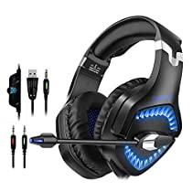 Gaming Headset for Xbox One Nintendo Switch PS4, ONIKUMA Over-Ear Gaming Headphones with Mic, PC USB Headsets Playstation Accessories with Microphone LED Light Noise Cancelling Volume Control for Fortnite and Others