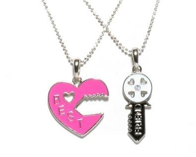 Amazon heart lock and key best friend necklace set 2 pendants heart lock and key best friend necklace set 2 pendants aloadofball Gallery