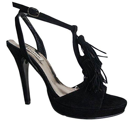 DUNE Suede Leather Open Toe Strappy Tassel Detail Stiletto's Black szvcH78