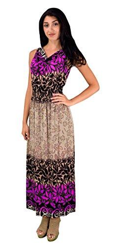 Peach Couture Women Casual Vinatge Boho Sleeveless Floral Summer Long Maxi Dress Medium, Fuchsia