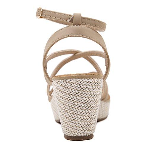 Alto Fibbia Caviglia Infradito Cinturino Alla PU Beige Tacco Donna Stile Zoerea Romano Cuoio Estate Sandali in 7xS8nzA