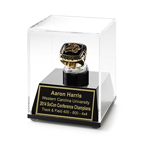 - Championship Ring Display Case Acrylic Ring Box with Personalized Engraving (Gold)