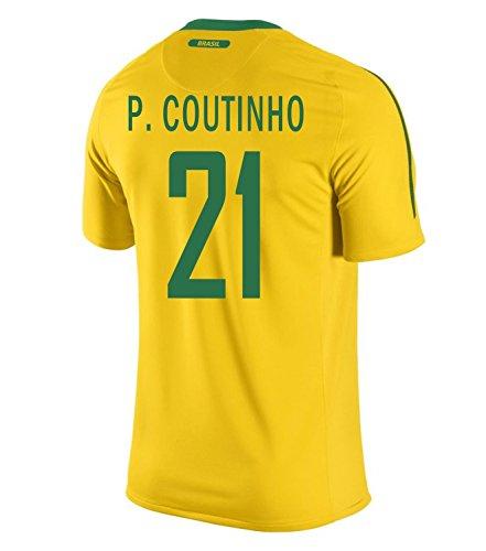 私たち自身ハブスキルNIKE P. COUTINHO #21 Brazil Home Men Jersey/サッカーユニフォーム ブラジル ホーム用 フィリペ?コウチーニョ 背番号21