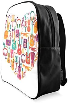 Colorful Love Music Intrument Girls Bags For School Casual Travel Bag Fashion Womens Bag Print Zipper Students Unisex Adult Teens Gift