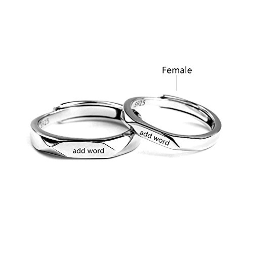 Leecum Customized Products-Add Your Design on Matching Couple Rings Adjustable Customize Engraving for Him And Her Sets Men Women 925 Sterling ()