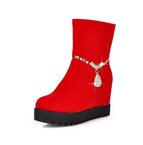 AgooLar Damen Reißverschluss Hoher Absatz Blend-Materialien Niedrig-Spitze Stiefel Rot