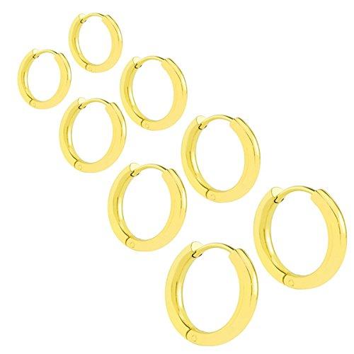 Shaped Hinged Earrings (Nicever Stainless Steel Clip On Huggie Hinged Hoop Earrings Ear Piercings Set for Mens Womens Pack of 4 Pairs (Gold))