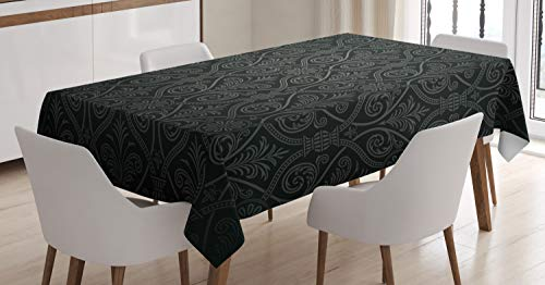Black Tablecloth by Ambesonne, Antique Baroque Damask Pattern Gothic Medieval Curvy Vintage Victorian Venetian Style, Dining Room Kitchen Rectangular Table Cover, 60W X 84L Inches, Black Grey