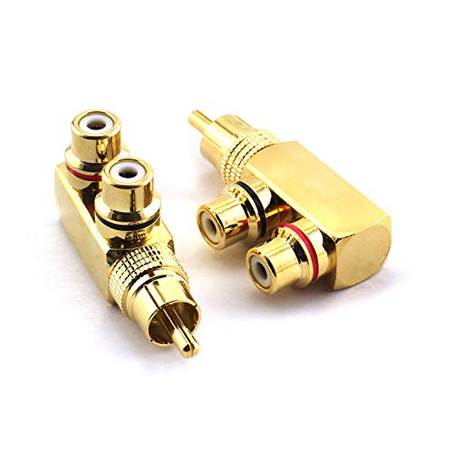 (RuiLing 2pcs Copper RCA Splitter Plug 90 Degree Right Angle AV Audio Video Converter Connector Gold Plated 1 Male to 2 Female Adapter)
