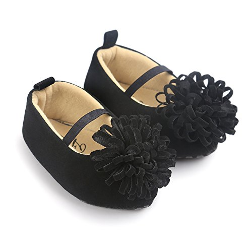 Baby Girl First Walker Princess Flower Soft Soled Anti-Slip Crib Mary Jane Shoes Point Toe Black