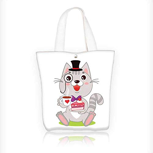 (Canvas Tote Bags cat in bowler hat and monocle and cake in s vector cartoon animals Design Your Own Party Favor Pack Tote Canvas Bags by Big Mo's Toys W16.5xH14xD7 INCH)