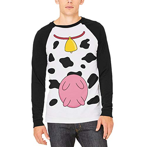 Halloween Cow Costume Udders Funny Mens Long Sleeve Raglan T Shirt White-Black X-LG -