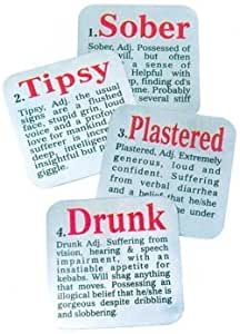 Stainless Steel Drinking Humor Coasters, 4 Piece