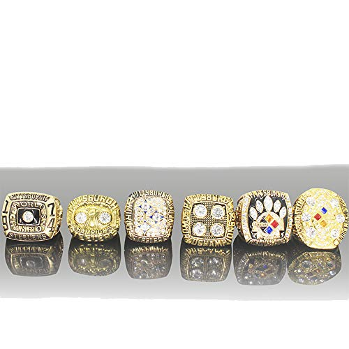 (HN Creatife NFL Super Bowl Pittsburgh Steeler Champion Ring Wooden Box Set Assembly Jewelry Men's Rings)