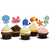 HZOnline Ocean Theme Cupcake Toppers Food Picks Dolphin Seahorse Starfish Fish for for Ocean Nautical Theme Party Baby Shower Kids' Birthday Cake Supplies (48PCS)