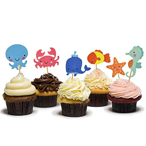 (HZOnline Ocean Theme Cupcake Toppers Food Picks Dolphin Seahorse Starfish Fish for for Ocean Nautical Theme Party Baby Shower Kids' Birthday Cake Supplies (48PCS))