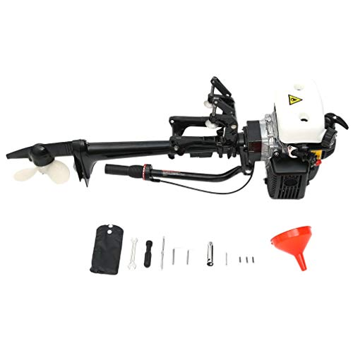 Genuine store Upgraded Outboard Motor, 4 Stroke 4.0HP Manual Start Air Cooled Fishing Boat Motor - 360° Steering Rotation - Standard CDI Ignition System