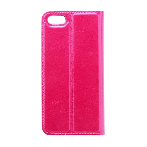 LENTION Genuine Leather Slim Stand Wallet Card Holder Flip Cover Fully Handmade Case for iPhone 5 5S Rose
