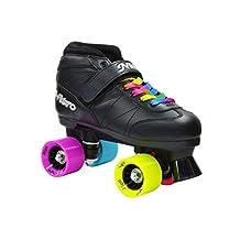New! Epic Super Nitro Rainbow Indoor / Outdoor Quad Roller Speed Skates w/ 2 Pair of Laces (Rainbow & Black) Free Jam Plugs !