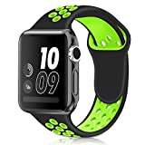 Casual Accessories Watch Band 42 mm Black Green - Sports Soft Silicone Replacement Band For iWatch Series 3 2 1, Nike + Sport Edition Strap M/L Size Casual Accessories Black Green